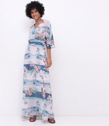 f211726843 Vestido longo estampa floral (cuidar com a transparência)
