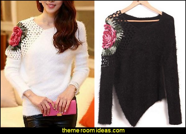 Knit Chinese Style Flowers Sweater