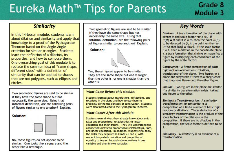 You Do the Math -- K thru Calculus: Eureka Math Tips for Parents