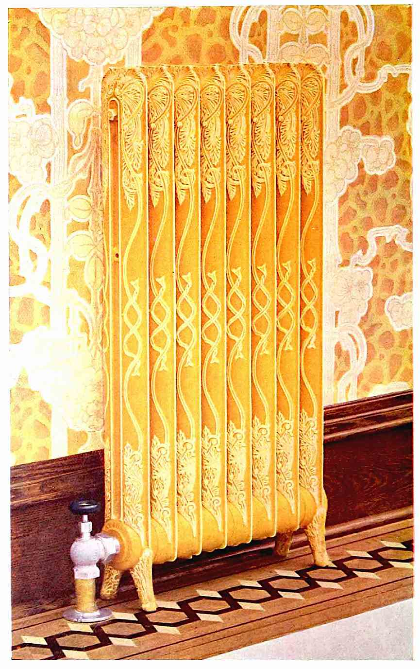 1905 radiator, tinted color photograph of a painted decorative home radiator