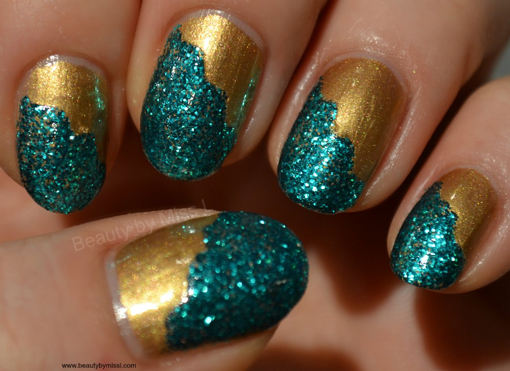 Diagonal French manicure, Models Own Gold Digger, Models Own Emerald City,