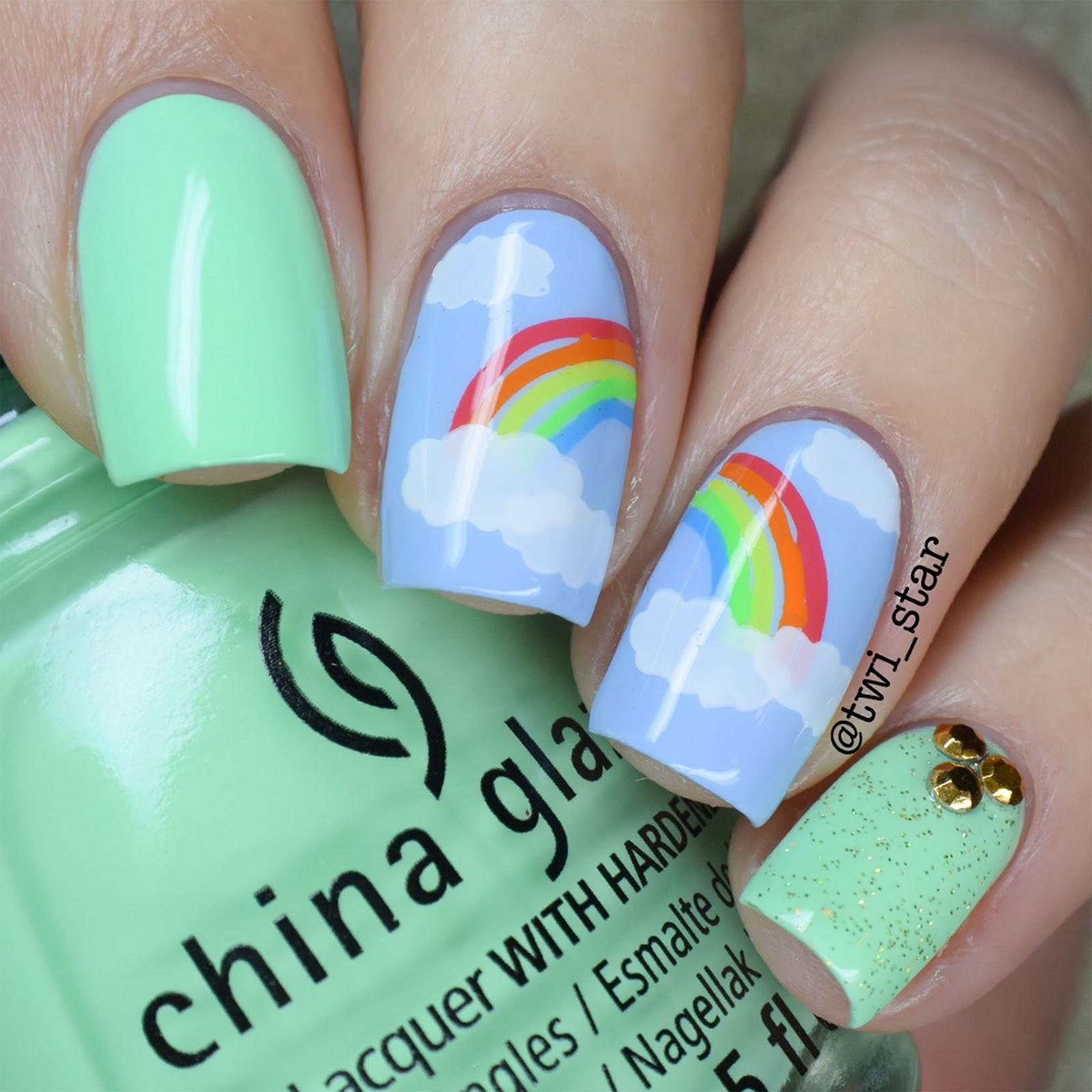twi-star | Nail Art Blog: St. Patrick\'s Day Rainbow Stamping Nail Art!