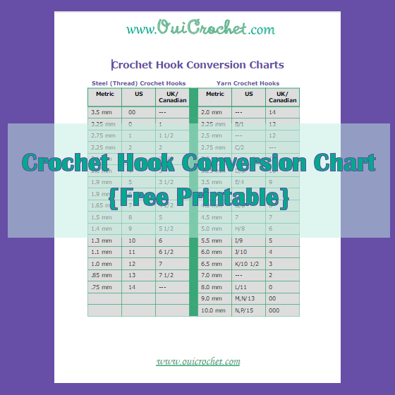 Crochet, Crochet Hook Conversion Chart, Crochet Hook Conversion Printable