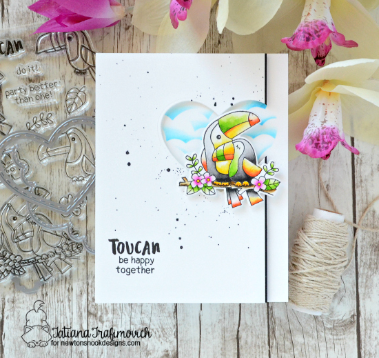 Toucan Couple Card by Tatiana Trafimovich | Toucan Party Stamp Set and dies by Newton's Nook Designs #newtonsnook #handmade