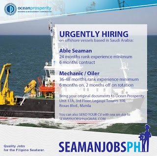 hiring Able Seaman, Oiler For Offshore Vessel