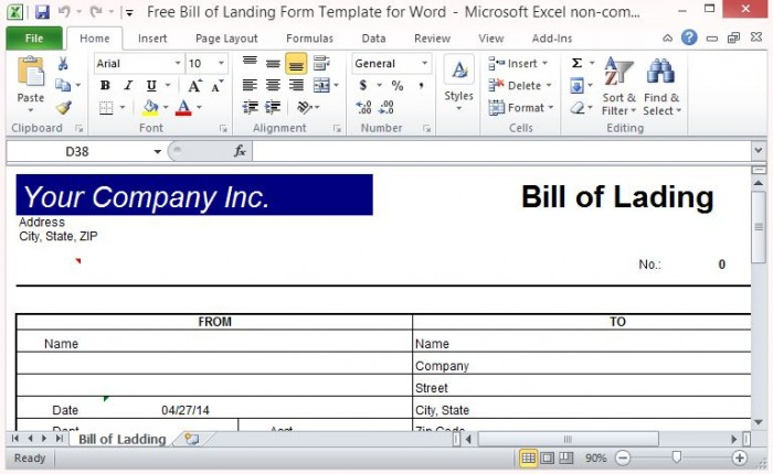 straight bill of lading short form template free