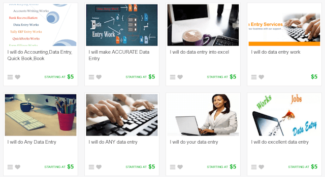 Data entry gigs on fiverr