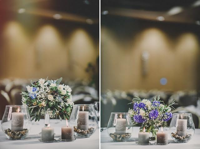 Dekoracje na stoły weselne w kolorze serenity blue