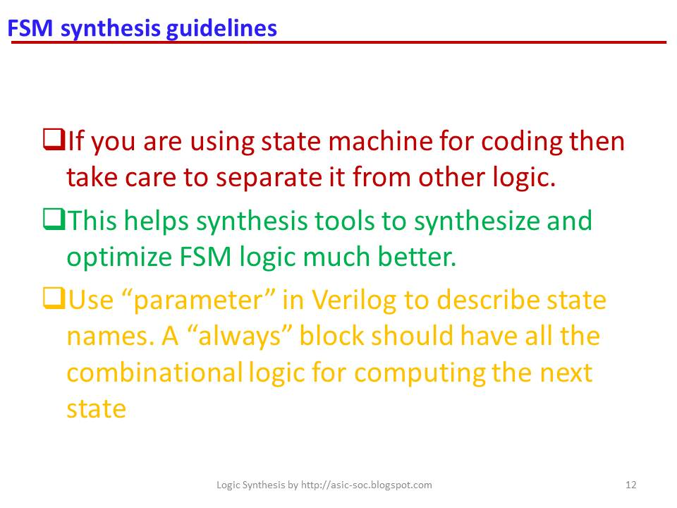 Asic System On Chip Vlsi Design Fsm Synthesis Guidelines