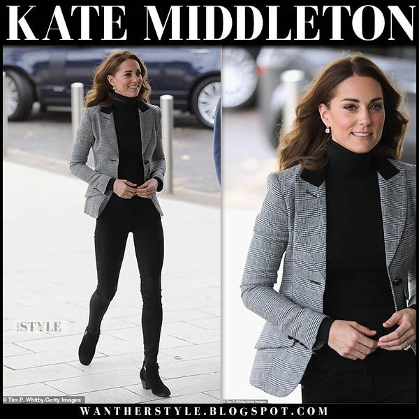 Kate Middleton in grey plaid smythe blazer and black skinny jeans royal family style october 30