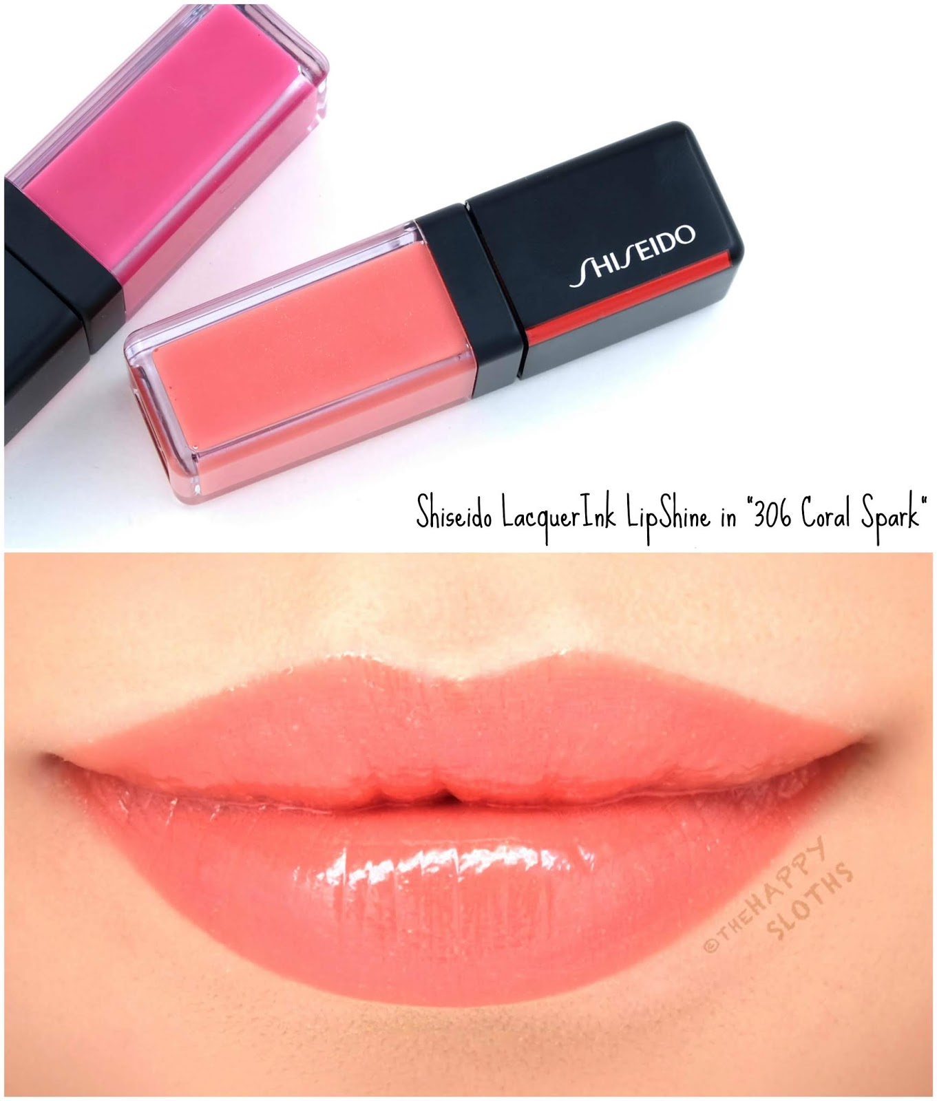 "Shiseido | LacquerInk LipShine in ""302 Coral Spark"": Review and Swatches"
