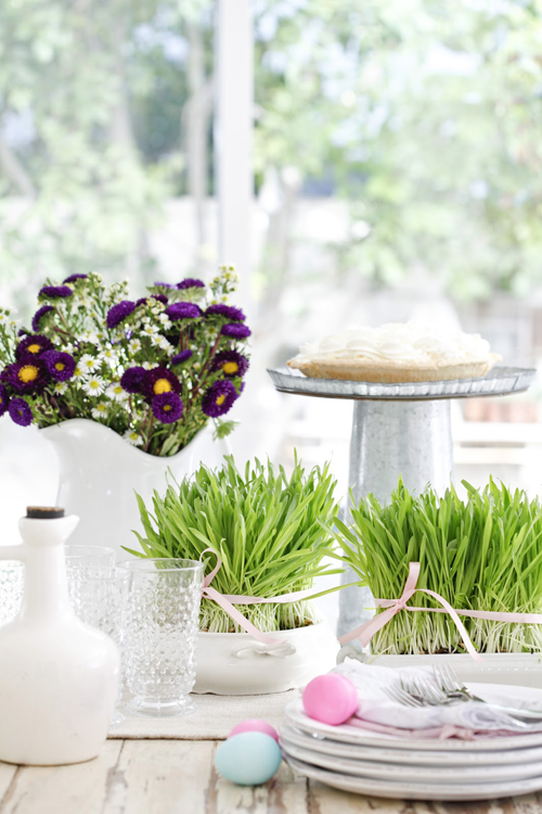 Easterfinal1 DIY Easter Table Setting With Eggs and Grass From Dusty Lu Interiors