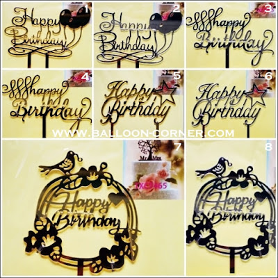 Cake Topper Acrylic Gold & Silver Motif HAPPY BIRTHHDAY