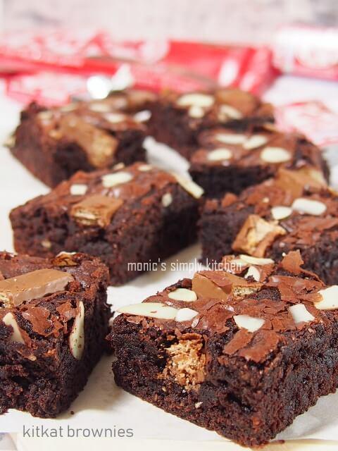 resep chewy kitkat brownies