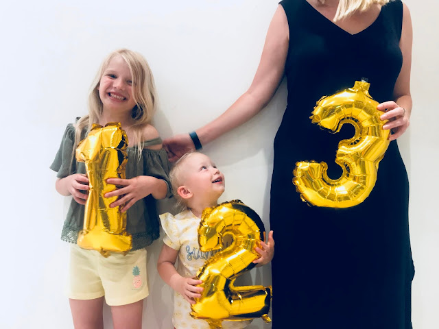 Me and my 2 daughters with number balloons