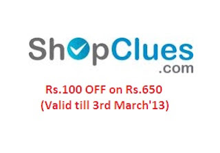 Shopclues Discount Offer: Get Rs.100 OFF on Rs.650 across entire Store