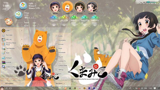 Windows 10 Ver. 1703 Theme Kuma Miko by Enji Riz