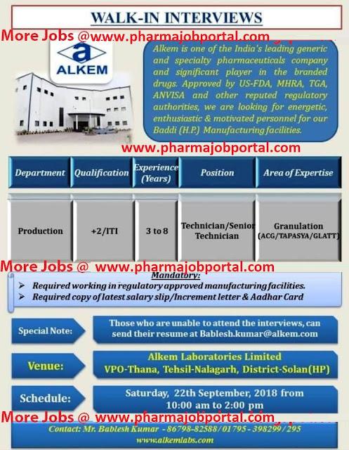 Alkem Laboratories Ltd Walk In Interview For Technician, Sr. Technician - Production at 22 Sep