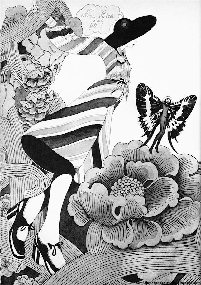 NINA RICCI FASHION ILLUSTRATION 1970