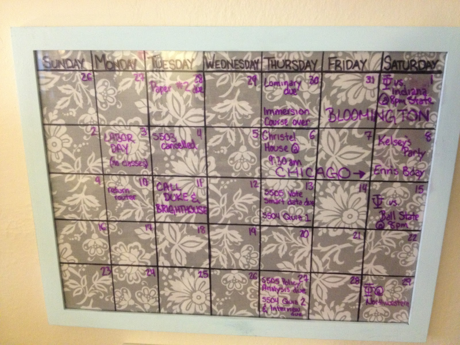 The Beauty In Blissfulness Diy Dry Erase Calendar