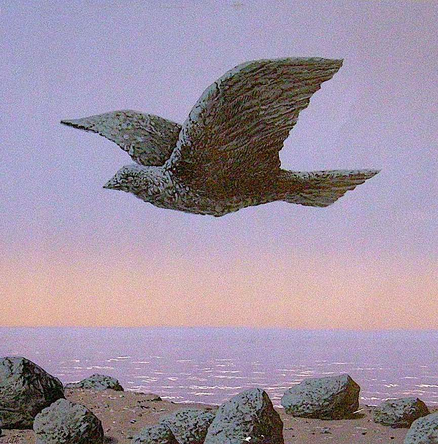 Rene Magritte stone bird flying, a color image