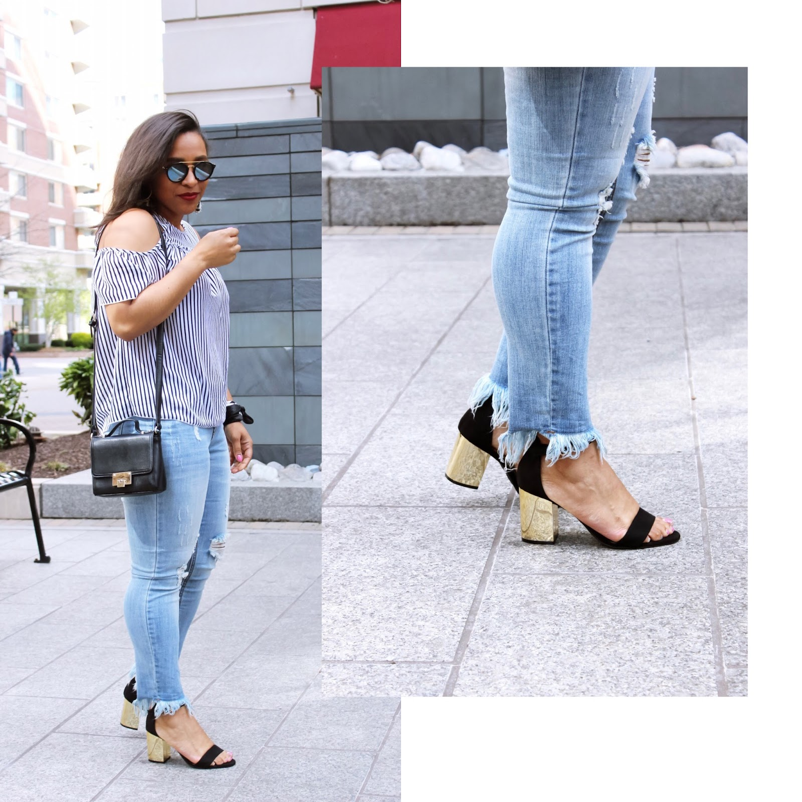 off the shoulder trend, off the shoulder top, stripes, blue, kapten and son sunglasses, block heels, trendy outfits, spring outfits, blue