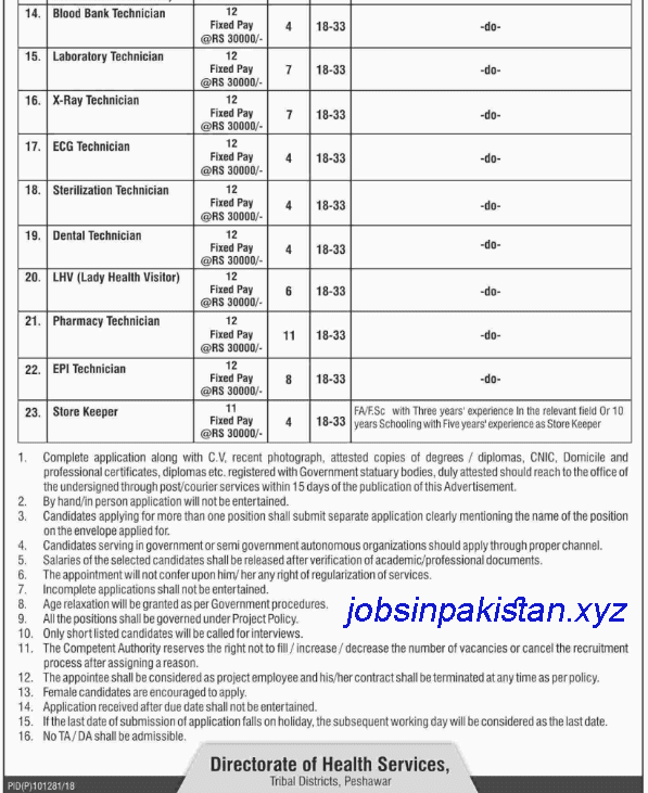 Advertisement for the Department of Health Services Jobs 2018