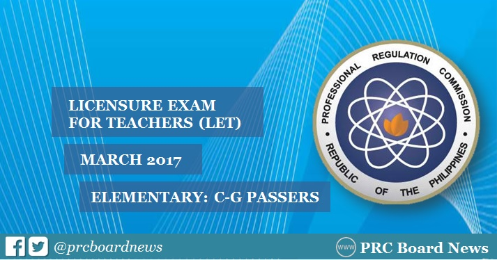 C-G Passers Elementary: March 2017 LET Result