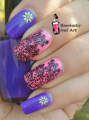 purple pink nail art