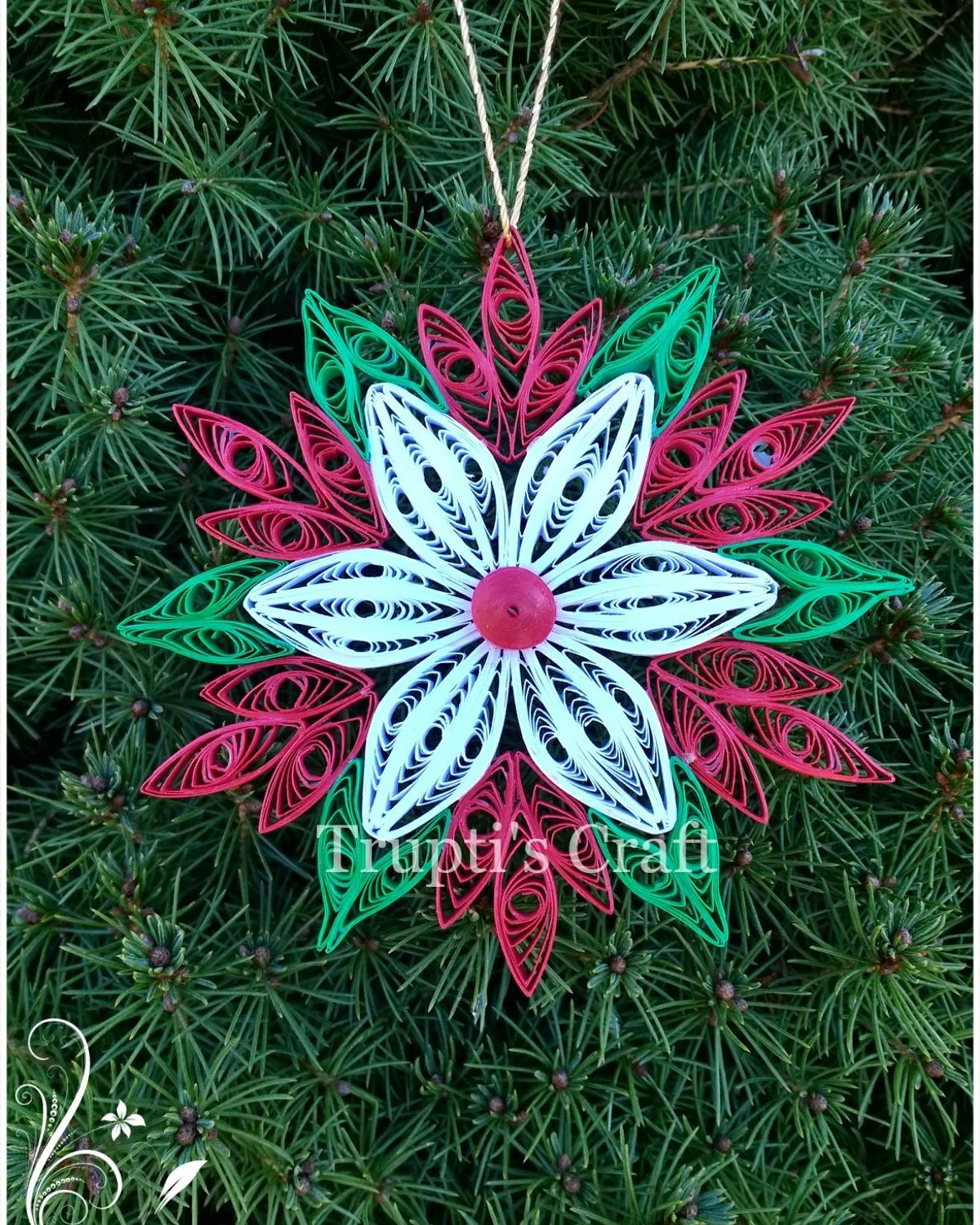 Trupti S Craft Paper Quilling Christmas Ornament Snowflake Car
