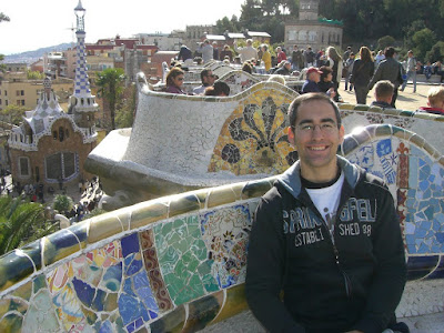 Colourful benchs in Park Güell