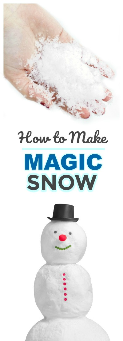 FUN KID PROJECT:  Make MAGIC SNOW! Only 2-ingredients and your kids will be in awe!  (It's cold & it erupts!) #snowplayrecipe #playrecipe #homemadesnow