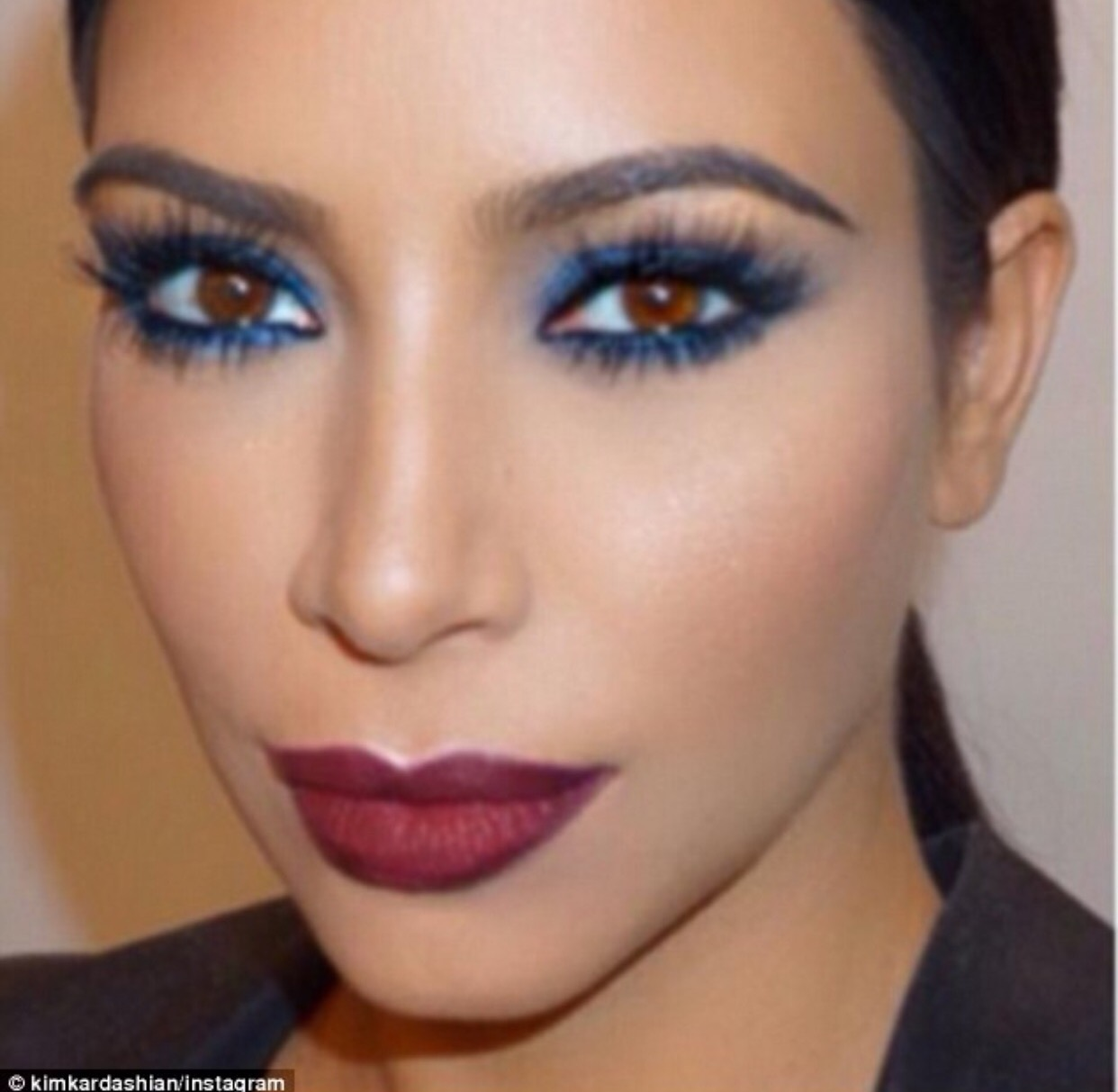 Kim Kardashian Inspired makeup Blue smokey eye