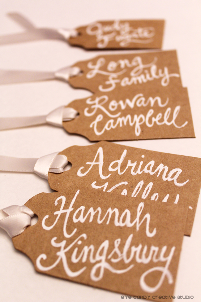 party favor tags, hand lettered names on party favors, kraft paper, white ink