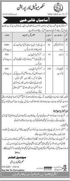 Jobs In Municipal Corporation Sukkur January 2018