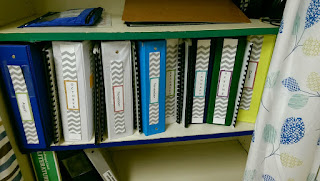 Notebooks with labels on the spine sitting on a shelf
