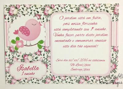 convite aniversário artesanal infantil personalizado jardim encantado passarinhos provençal floral vintage rosa festa chá de bebê 1 aninho menina scrap scrapbook scrapfesta delicado