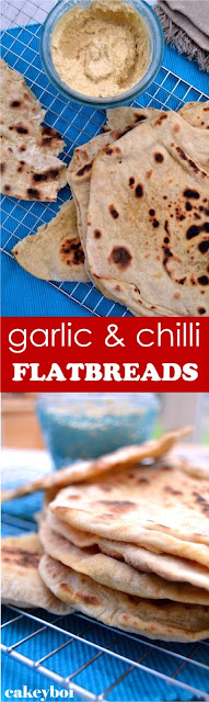 Unleavened flatbreads flavoured with garlic and chilli. Cooked on a griddle. Perfect for dipping or enjoying with a curry.