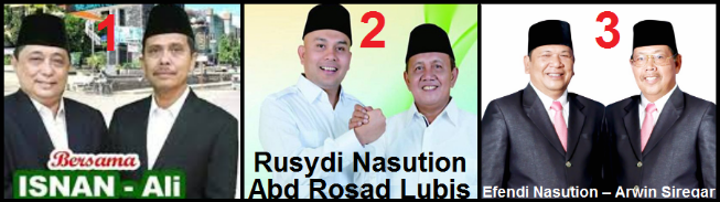 Tiga pasangan calon walikota dan wakil walikota Kota Padang Sidempuan 2018