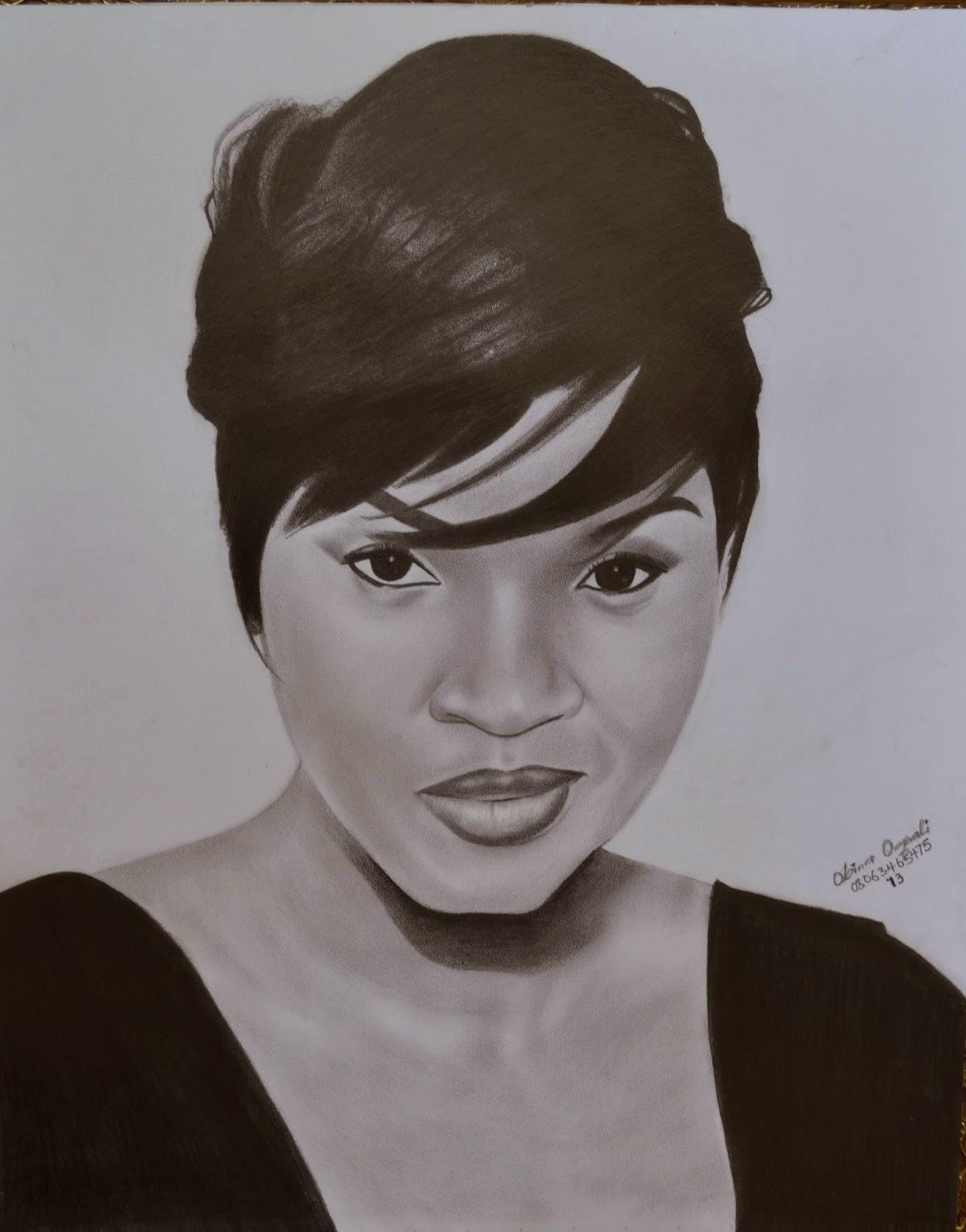 Nigerian actress Omotola's realistic pencil drawing