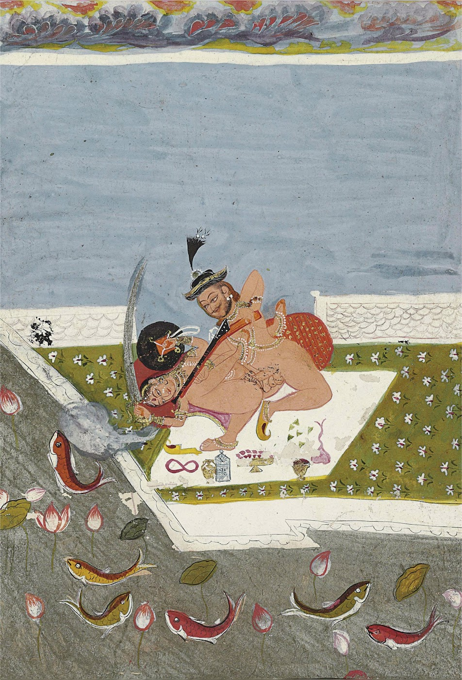 Sporting Couple Engaged in Lovemaking Holding Various Weapons - Rajput Painting, Probably Bundi, Late 18th Century