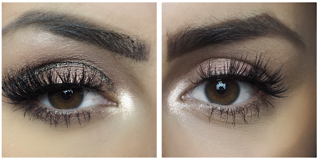 image of eyes with both lashes applied - left is cherry top, a fluttery lash and right is bubble pop, a short/long alternating lash