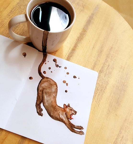 02-Americano-Elena-Efremova-Coffee-Cats-Watercolor-Paintings-www-designstack-co