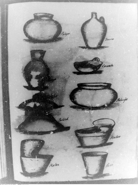 Arguelles' drawings of pots made in Palyocan.