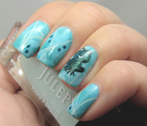 Nail Art // Blue And Green Freehanded Froggy For When