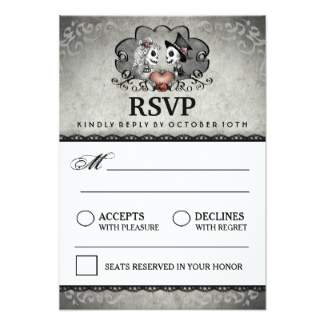 skeleton LOVE Matching Gray & Black RSVP Card - 3.5 x 5 Inches