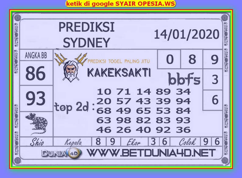 Kode syair Sydney Selasa 14 Januari 2020 86