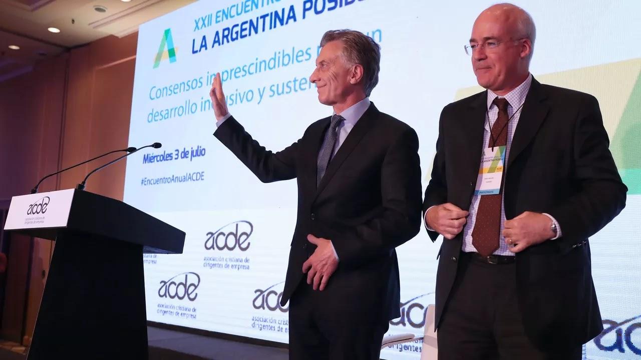 Mauricio Macri ante empresarios de ACDE