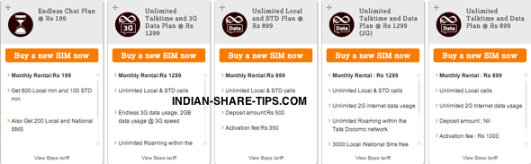 Unlimited TataDocomo Post Pay Plans with 3G | Indian Stock