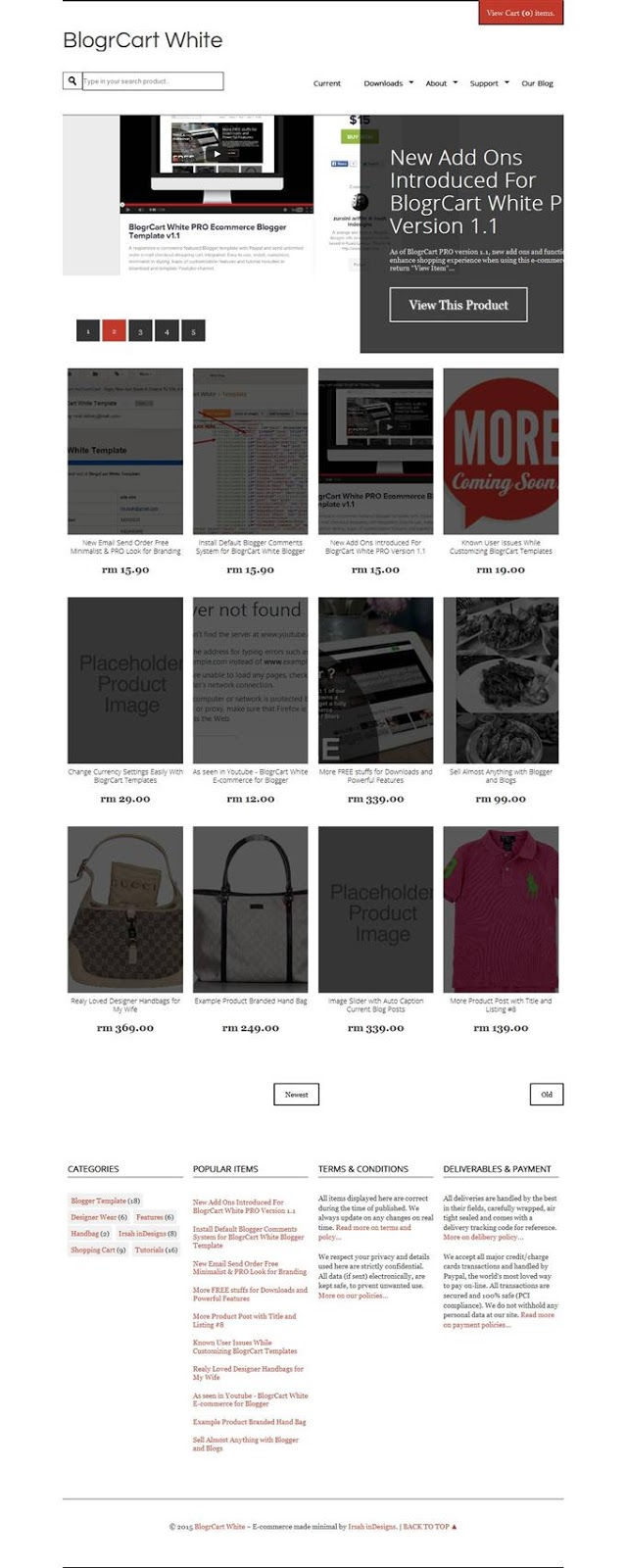 blogrcart blogger ecommerce template